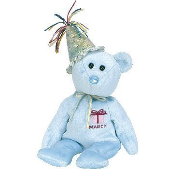 Ty Beanie Baby March Teddy Happy Birthday Bear w Hat