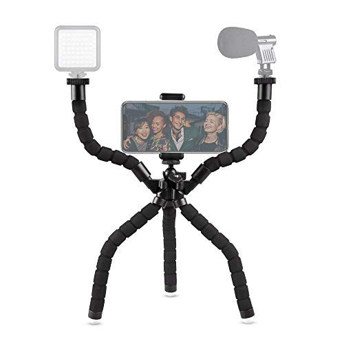 Phone Tripod Rig, UBeesize Flexible Smartphone Video Tripod for Filmmaking Recording Vlogging with Bluetooth Remote Shutter, Compatible with iPhone/Android Cell Phone/GoPro Camera