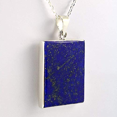 (Sterling Silver Genuine Rectangular Dark Blue Lapis Lazuli Handmade Pendant 16+2 inches Chain)