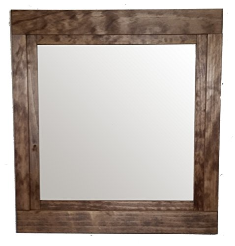 Farmhouse Mirror 22 x 24 Stained in Special Walnut Vertical Mirror - Accent Mirror - Rustic Modern Home - Home Decor - Mirror - Housewares - Woodwork - Frame - Stained Mirror by Renewed Decor - Cottage Vertical Mirror