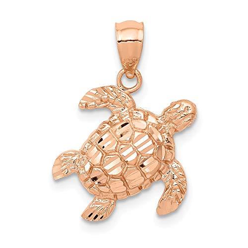 14k Rose Gold Diamond Cut Sea Turtle Pendant
