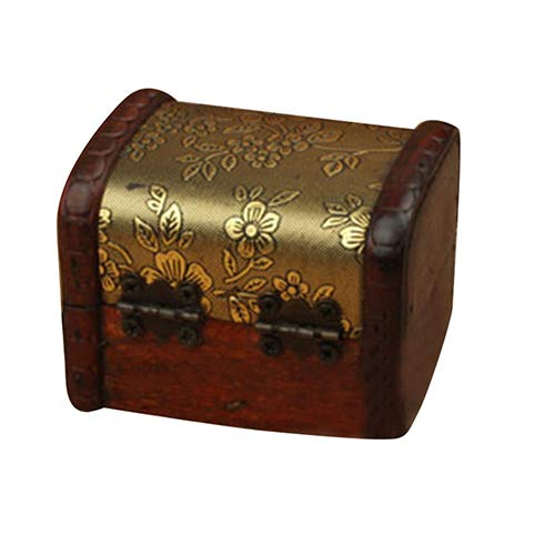Hofumix Vintage Floral Pattern Wooden Jewelry Box Organizer Ring Necklace Storage Case -F