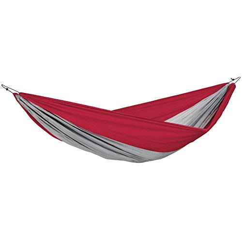 BYER OF MAINE Traveller Double XXL Hammock, Extra Large, Two Person, Lightweight, Easy to Transport, Nylon Fabric, Easy Assembly, Red Grey, 125 L x 90 W, Holds up to 375lbs