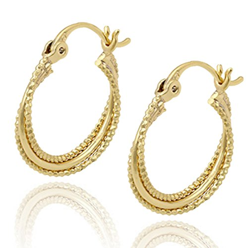 Juvel Jewelry Fashion High Quality 14K Gold Plated Hoop Earring Light Sparkle For Singer