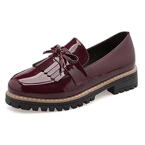 Zapatos Mujer Zapatos Cabeza Zapatos de 35 Mujer Casual Estaciones Rojo Zapatos Mujer de estilosos Vino Zapatos de Mujer Redonda Zapatos Mujer XXM con Planos Cuatro luz de Shoes Las de Zapatos P6nO61