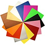 "JANDJPACKAGING Heat Transfer Vinyl HTV Bundle - 13 Packs 12"" X 10"" Iron on Vinyl in Assorted Colors, HTV Vinyl for Cricut Silhouette Cameo Heat Press Machine with Teflon Sheet Included"