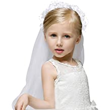 Girls Fashion Floral Headpiece Veil Flower Crown,White_without comb