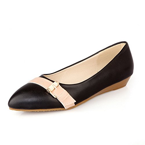 VogueZone009 Women's Low Heels Pull On Soft Material Pointed Closed Toe Pumps-Shoes Black l4qsvr