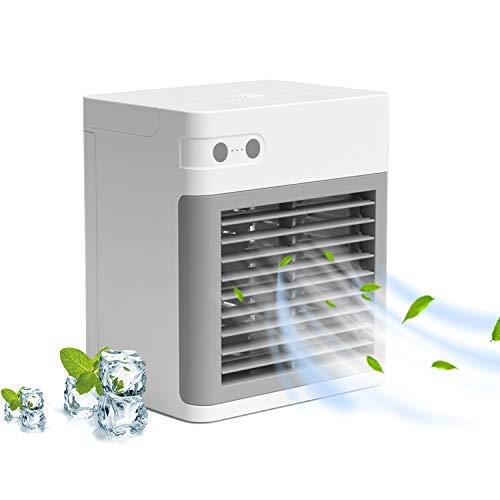 Portable Air Conditioner, Quiet USB Air Cooler with 3-Speed, Rechargeable Mini Air Conditioner with LED Light, Desktop…