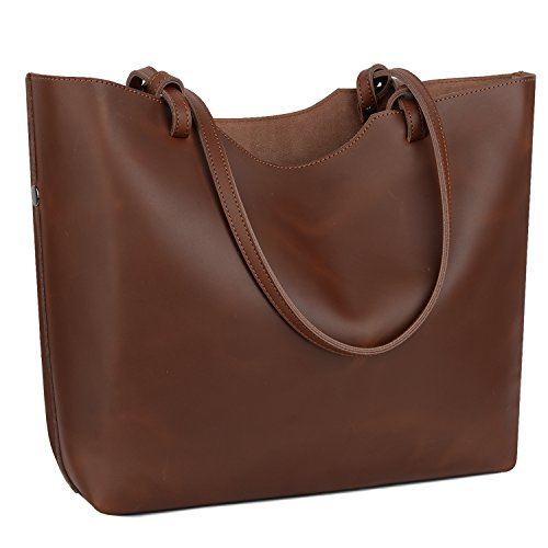 Shoulder 2 Women's Bag Capacity Real Large 1 Brown Totes in Yaluxe Crazy Leather Horse Deep PdMfqHH