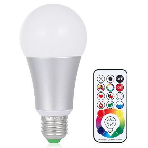 Boomile E26 LED Light Bulb with Remote Control, Timming 10W E27 RGB + Daylight White LED Color Changing Light Bulb, Dimmable Led Lamp, 120 Color Choices, Decorative Mood Light ()