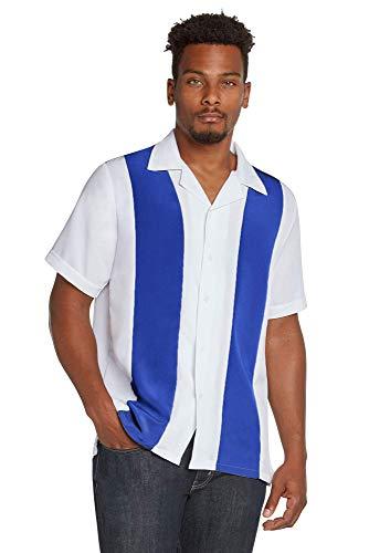 9 Crowns Men's Retro Bowling Bahama Camp Button-Down Shirt-Royal/White-XL