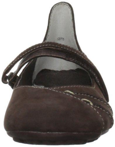 Sopily - Chaussure Mode Escarpin Mary Jane Stiletto Cheville femmes fleurs Talon aiguille haut talon 11 CM - Marron/Blanc