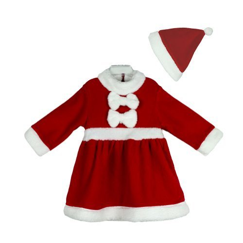 Girl Nyan Cat Costume (Baby Girls Christmas Santa Claus Costume Dress + HAT 2-piece Outfit (90/12-18 months))