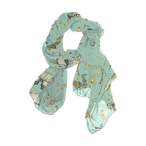 Unicorn Enchanted Universe Women Lightweight Silk Scarf Fashion Print Shawl Head Wraps ()