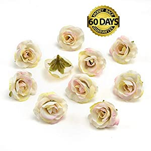 Silk Flowers in Bulk Wholesale Mini Silk Gradient Orchid Artificial Flower Head for Wedding Decoration DIY Wreath Accessories Craft Fake Flowers 30pcs 3.5cm (White Pink)