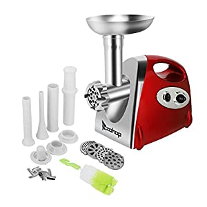 ROVSUN Electric Meat Grinder,1200W Meat Mincer Sausage Stuffer,Food Grinder with 4 Cutting Plates 3 Sausage Stuffing Tubes 2 Stainless Steel Blades Kibbe Attachment Brush, ETL Listed(Carmine)