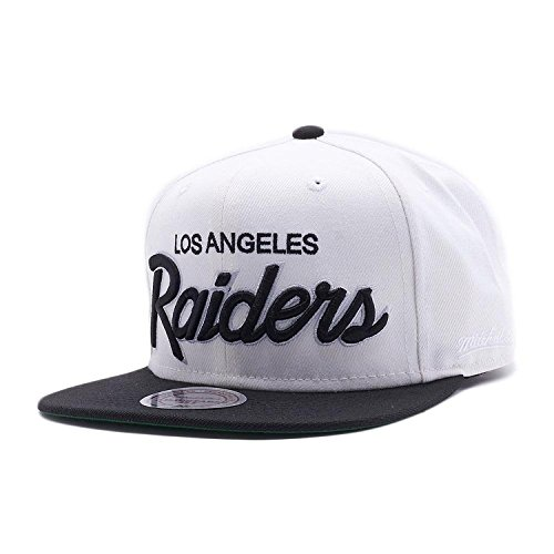 Mitchell & Ness Los Angeles Raiders Black Vintage Script N.W.A Adjustable Snapback Hat NFL (White/Black) -