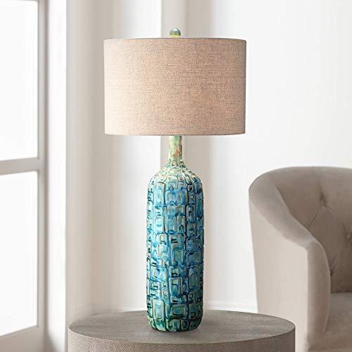 - Mid Century Modern Table Lamp Ceramic Tiled Teal Tall Tan Linen Drum Shade for Living Room Family Bedroom - Possini Euro Design