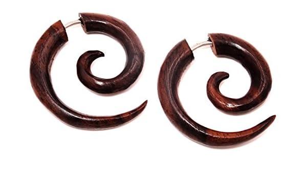 Pendientes falsos dilatadores de madera marrón, unisex ...