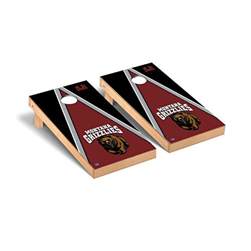Victory Tailgate Regulation Collegiate NCAA Triangle Series Cornhole Board Set - 2 Boards, 8 Bags - University of Montana Grizzlies