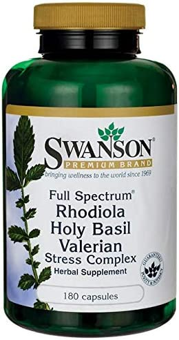 Swanson Rhodiola Holy Basil Valerian Stress Complex 225 225 225 Milligrams 180 Capsules