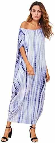 2f63c1b8e7e Verdusa Women s Boho One Off Shoulder Caftan Sleeve Harem Maxi Dress