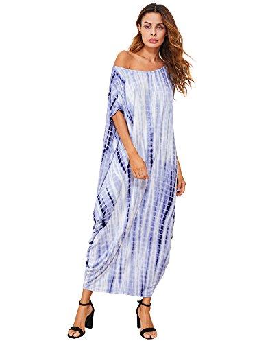 Verdusa Women's Tie Dye One Off Shoulder Caftan Sleeve Harem Maxi Dress Multicolor S