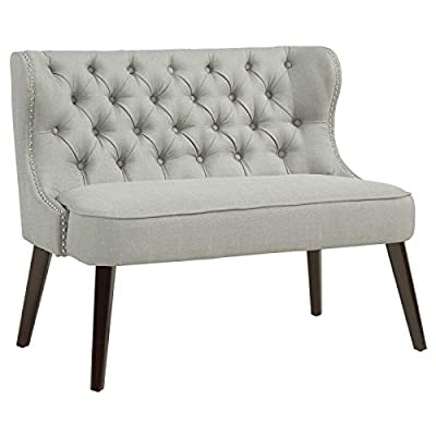 Selina Modern Tufted Fabric Upholstered Settee in Light Grey