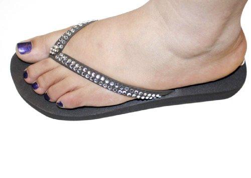 Kvinners Sandal Flate Stranden Flip Flops Klare Rhinestone Stil Thongs Leiligheter Sandaler Brun