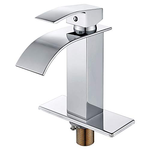 - HOROW Chrome Waterfall Bathroom Faucet Single Handle One Hole Deck Mount Lavatory with 4 inch Centerset Deck Plate Escutcheon