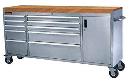 Stainless Steel Tool Chest 72 10 Draws Wooden Top Amazon Co Uk