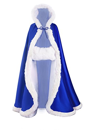 Custom Fit Match (Wedding Cape Hooded Cloak for Bride Winter Reversible with Fur Trim Free Hand Muff Full Length 55'')