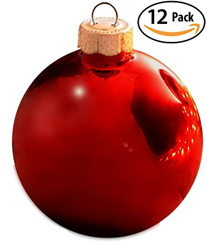 shiny red glass bulb christmas tree ornament 12 pack ruby red drop safe ball decorations will give your home that classic traditional holiday look - Christmas Tree Bulbs