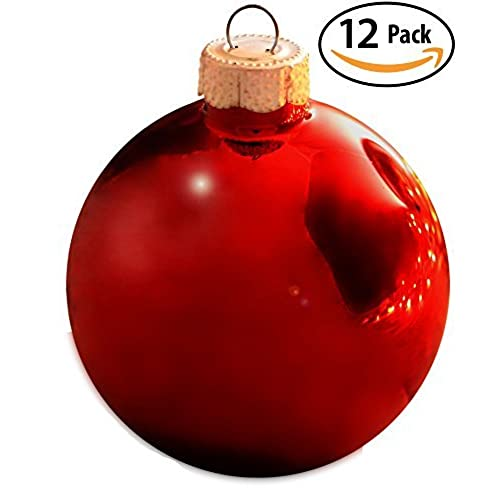 shiny red glass bulb christmas tree ornament 12 pack ruby red drop safe ball decorations will give your home that classic traditional holiday look - Red Christmas Decorations