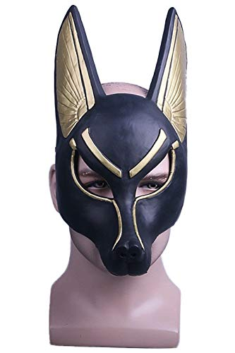 MIGHTYCOS Anubis Mask Adult Wolf Head Jackal Animal Masquerade Props Egyptian Costume Accessory -