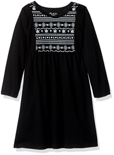 The Children's Place Big Girls' Long Sleeve Casual Dresses, Black 85312, M...