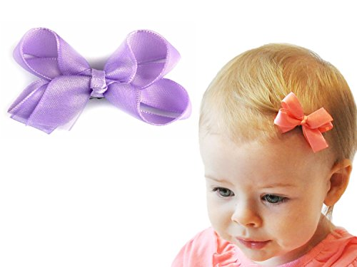 Baby Wisp Satin Organza Ribbon Boutique Hair Bow Wisp Clip for Baby Girls Toddlers Infant (Lavender)