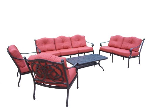 Oakland Living Berkley Deep Sitting 5-Piece Chat Set with Coffee table, 2 Chairs, 1 Loveseat, 1 Sofa and Cushions