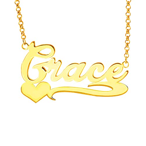 (YINSHIFU Name Necklace Personalized Name Plate Pendant Necklace with Heart in 18K Gold Plated (Grace))
