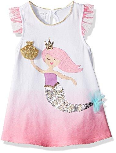 Mud Pie Baby Girls Pink Mermaid Ruffle Sleeve Tunic, MD/ 2T-3T