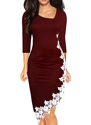 Drimmaks Women's Party Pencil Dress 3/4 Sleeve Stretchy Irregular Hem with White Lace Formal Evening Dresses (023-Wine Red, L)