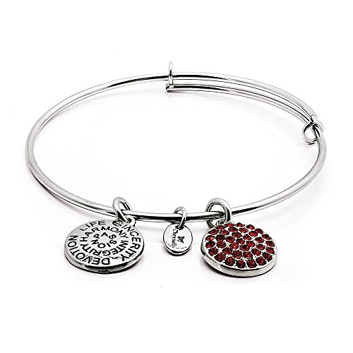 Chrysalis July birthstone - Ruby Crystal charm and rhodium plate expandable bangle. Ruby symbolises integrity, devotion and sincerity