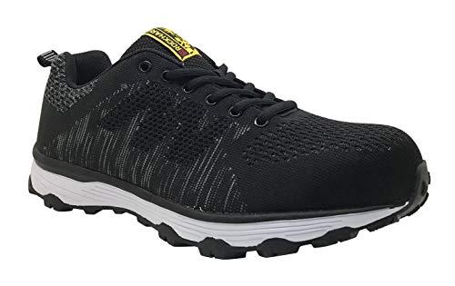 Rockhard Safety Men's 4'' Steel Toe Sneaker Work Shoes (10.5, Black) ()