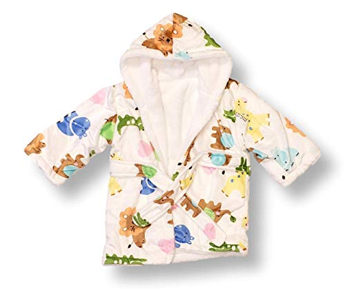 Extra Soft Plush Hooded Baby Bath Robe for Infants Toddlers (0-9 Months) | Ideal Registry Gift (at The Zoo - Lions, Giraffes, Etc - No Embroidery)