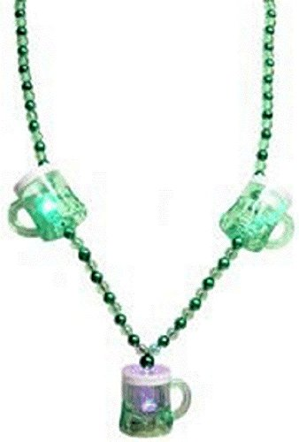 St Patrick's, Flashing Green Beer Mugs Necklace, 42