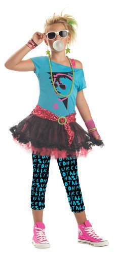 California Costumes 80's Valley Girl Tween Costume , Turq/Black, Large