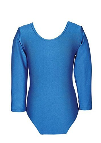 Child Girls Leotard Sleeved Stretchy Dance Gymnastics Ballet Sports Uniform Top (Royal Blue, 26 ( 5 - 6 Years)) by REAL LIFE FASHION LTD by REAL LIFE FASHION LTD