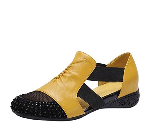 Fansela Tm  Womens Rhinestone Colorant Pu Leather Breathable Mesh Flats Shoes Size 7 5 Yellow