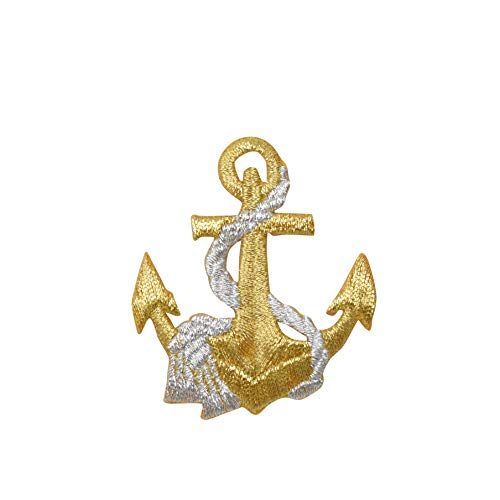 Nautical Gold Anchor with Silver Rope Iron on Embroidered Patch
